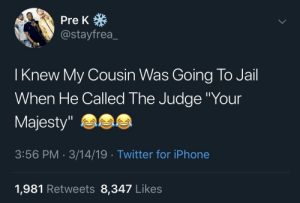 "Iphone, Jail, and Shit: Pre K  @stayfrea_  | Knew My Cousin Was Going To Jail  When He Called The Judge ""Your  Majesty""  3:56 PM 3/14/19 Twitter for iPhone  1,981 Retweets 8,347 Likes absolute-wumbo:  Shit"