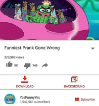 Memes Funniest: pre meme  Funniest Prank Gone Wrong  329,988 views  5K  149  DOWNLOAD  BACKGROUND  Yes Funny Yes  Subscribe  1,547,561 subscribers