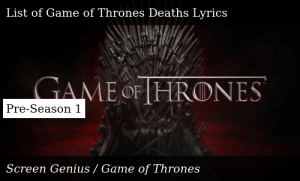 Screen Genius Character Death Lists List Of Game Of Thrones