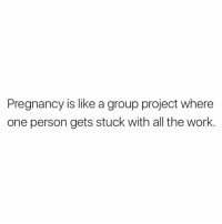 All The Work: Pregnancy is like a group project where  one person gets stuck with all the work.