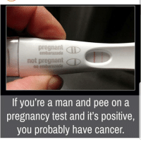 😯😯😯😯😯😯: pregnant CID  embarazada  not pregnant D  no embarazada  If you're a man and pee on a  pregnancy test and it's positive,  you probably have cancer. 😯😯😯😯😯😯