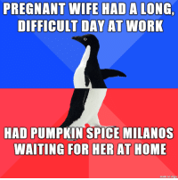 pumpkin spice: PREGNANT WIFE HAD  DIFFICULT DAY AT  A LONG  WORK  HAD PUMPKIN SPICE MILANOS  WAITING FOR HER AT HOME  made on imgur