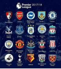 Arsenal, Chelsea, and Everton: Premier 2017/18  League  AFC GOURNEMOUTH  ELSE  Arsenal  LBION  AFC  Bournemouth  Brighton and  Hove Albion  Arsenal  Burnley  Chelsea  STER  Everton  1878  ALL  SNIS  Crystal  Palace  Huddersfield  Town  Leicester  City  Everton  Liverpool  CHES  HE  STOKE  CITY  CITY  POT  Manchester  City  Manchester  United  Newcastle  United  Southampton  Stoke City  WATFORD  WEST HAN  UNITED  WEST BROMWICH  ALBION  父  TTEN  OTSPUR  Tottenham  Hotspur  West Bromwich West Ham  Swansea  City  Watford  Albion  United 50 Hari lagi menuju Musim baru Premier League 2017-18! Mana tim jagoanmu gaes? 🙌