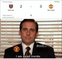 Memes, Premier League, and Time: Premier League  Half-time  HE  2  WITED  West Ham  Man United  Felipe Anderson 5'  Andriy Yarmolenko 43'  O TrollFootball  The TrollFootball_Insta  CHES  NITE  l am dead inside Man Utd fans right now https://t.co/275x4mlbxo