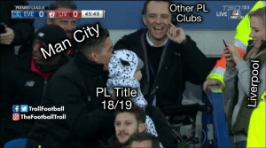 Football, Memes, and Premier League: PREMIER LEAGUE  Other PL LIVE  LIV 0 45:49  Clubs  Man City  PL Title  18/19  Troll Football  TheFooballTroll This 😂 (Credits: @fuckrudoinhere ) https://t.co/cCaGGGufUy