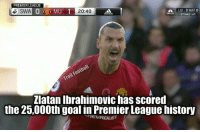 Zlatan didn't score in all those games cause he was waiting to score the 25,000th goal.: PREMIER LEAGUE  S SWA  0 50 MU 1  20:40  LIV 3 WATO  NICON 2 HALE 47  Zlatan Ibrahimovic has scored  the 25,000th goal in Premier League history  TIEVROLET Zlatan didn't score in all those games cause he was waiting to score the 25,000th goal.