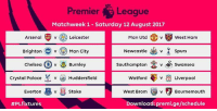 Arsenal, Chelsea, and Everton: Premiera Leaque  Matchweek 1 - Saturday 12 August 2017  Arsenal  Leicester  Man Utd  West Hanm  BrightonMan City  Newcastle  spurs  v  Chelsea (A) v  Burnley  Southampton vSwansea  Crystal Palace v Huddersfield  Watford  v  Liverpool  Everton v stoke  v Stoke  West Brom  v  Bournemouth  #PLfixtures  Download: preml.ge/schedule Opening day fixtures for the Premier League