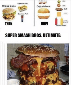 Dank, Memes, and Smashing: PreOrder Bonus  DLC  Expansion Pack  -DLC  Original Game  Original Game  DLC  DLC  Expansion Pack  Best Bvy  THEN  NOW  Gamesop Excusive  SUPER SMASH BROS. ULTIMATE: So much content by ArachnidMale MORE MEMES