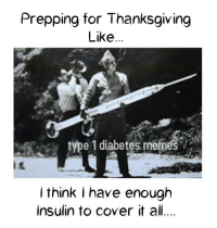 To all the American's prepping for Thanksgiving on Thursday!    Created by Kayla: Prepping for Thanksgiving  Like  type 1 diabetes memes  think I have enough  Insulin to cover it all To all the American's prepping for Thanksgiving on Thursday!    Created by Kayla