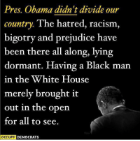 Memes, Racism, and White House: Pres. Obama didn't divide our  country  The hatred, racism,  bigotry and prejudice have  been there all along, lying  dormant. Having a Black man  in the White House  merely brought it  out in the open  for all to see.  OCCUPY DEMOCRATS Political divisiveness of the last decade came from the Republicans who agreed to block literally every effort big or small from the President, even if it was good for the country or even if it was consistent with their ideology.   Let's not pretend Obama was divisive...  If anything, he was too accommodating to an opposition hell bent on gridlock.