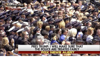 "President Donald Trump​ declared Monday that attacks on law enforcement ""are a stain on the very fabric of our society"" and ""must end right now,"" during the National Peace Officers' Memorial Service.: PRES TRUMP: I WILL MAKE SURE THAT  THE POLICE ARE TREATED FAIRLY  FOX NEWS ALERT President Donald Trump​ declared Monday that attacks on law enforcement ""are a stain on the very fabric of our society"" and ""must end right now,"" during the National Peace Officers' Memorial Service."