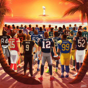 The sun rises on our 100th season.  Who's winning #SBLIV? #NFL100 https://t.co/VUKUewKtV1: PRESCOTT  STAFFOMD  EVANS  H&CAFFREY  SCSTER  GAROP  ACKSON  ALLEN  MURRAY  RAMSEY  COLLINS  UNE  HOWARD  MILLER  58  THIELEN  DALTON  ALLEN  HEN  14 13  YATSON  ADAM  BARKLEY  WENTZ  CKHAM JR  LEONARO  BROWN  RODGE  WILSON  MACK  530  R4  HAHOMES  BRADY  15  12 52  BREES  DONALD  99  800MIN The sun rises on our 100th season.  Who's winning #SBLIV? #NFL100 https://t.co/VUKUewKtV1