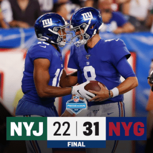 FINAL: @Giants win the battle of New York! #NYJvsNYG https://t.co/e4VYge2dF5: PRESEASON  2019  NYJ 22 31 NYG  FINAL FINAL: @Giants win the battle of New York! #NYJvsNYG https://t.co/e4VYge2dF5