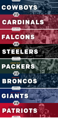 Atlanta Falcons, Dallas Cowboys, and Denver Broncos: PRESEASON  DALLAS  COWBOYS  VS  ARIZONA  Rol 1  CARDINALS  FI  HOF GAME   PRESEASON  ATLANTA  FALCONS  VS  PITTSBURGH  STEELERS  8 4  BROWN  WEEK 2   PRESEASON  GREEN BAY  PACKERS  VS  DENVER  BRONCOS  WEEK 3   PRESEASON  NEW YORK  GIANTS  VS  NEW ENGLAND  PATRIOTS  WEEK 4  PATRIOTS