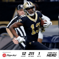 .@Cantguardmike set a @Saints franchise record with 211 receiving yards in Week 9! #GoSaints  (by @pizzahut) https://t.co/oEwo00JhhC: PRESENTED BY  12 211  HOME FIELD  CATCHES REC YARDS REC TD .@Cantguardmike set a @Saints franchise record with 211 receiving yards in Week 9! #GoSaints  (by @pizzahut) https://t.co/oEwo00JhhC