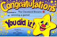 A Christmas Miracle!!!: Presented to  The Cleveland Browns  for inning a game!  ow did it! vaA  12/24/16  Date  @NFL MEMES  Signed A Christmas Miracle!!!