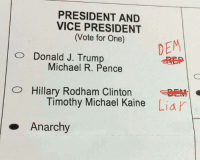 Michael, Presidents, and Trump: PRESIDENT AND  VICE PRESIDENT  (Vote for One)  DEM  O Donald J. Trump  Michael R. Pence  O Hillary Rodham Clinton  Timothy Michael Kaine  Liar  Anarchy #anarchyballislove #anarchyballislife -Voluntaryist - The Comic Series