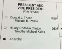 Memes, Michael, and Presidents: PRESIDENT AND  VICE PRESIDENT  (Vote for One)  O Donald J. Trump  Michael R. Pence  O Hillary Rodham Clinton  Timothy Michael Kaine  Anarchy  REP