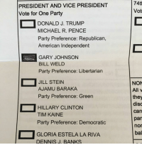 Denny's, Hillary Clinton, and Memes: PRESIDENT AND VICE PRESIDENT  Vote for One Party  DONALD J. TRUMP  MICHAEL R. PENCE  Party Preference: Republican,  American Independent  GARY JOHNSON  BILL WELD  Party Preference: Libertarian  JILL STEIN  AJAMU BARAKA  Party Preference: Green  HILLARY CLINTON  TIM KAINE  Party Preference: Democratic  GLORIA ESTELA LA RIVA  DENNIS J. BANKS  74th  Vot  NON  All v  they  Can  par  nor  bal I just voted and I couldn't be prouder.