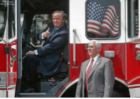 "America, Memes, and Monday: President DonaldTrump, accompanied by Vice President MikePence, gives a 'thumbs-up' from inside the cabin of a firetruck during a ""Made in America,"" product showcase featuring items created in each of the U.S. 50 states, Monday, July 17, 2017, on the South Lawn of the WhiteHouse."
