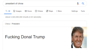 Asian, Fucking, and News: president of china  Maps  a All  E News  Images  Videos  More  Settings  Tools  About 2,020,000,000 results (0.83 seconds)  China/ President  Fucking Donal Trump Asian Trump