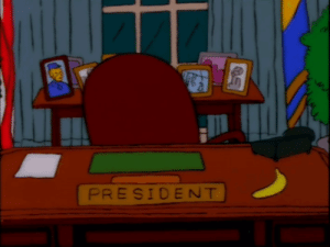 President Trump consults his advisors in the Oval Office (April 2018): PRESIDENT President Trump consults his advisors in the Oval Office (April 2018)