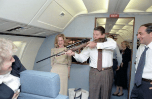 President Reagan shoots down the last living bird from an airplane, later replacing it with a government drone (c. 1984): President Reagan shoots down the last living bird from an airplane, later replacing it with a government drone (c. 1984)