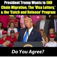 Do you agree with what Pres. Trump says here?: President Trump Wants to END  Chain Migration, The Visa Lottery,  & the 'Catch and Release' Program  AIN  Do You Agree? Do you agree with what Pres. Trump says here?