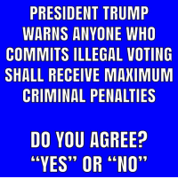 "Memes, Trump, and 🤖: PRESIDENT TRUMP  WARNS ANYONE WHO  COMMITS ILLEGAL VOTING  SHALL RECEIVE MAXIMUM  CRIMINAL PENALTIES  DO YOU AGREE?  ""YES"" OR ""NO"" Yes"