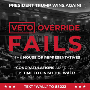 "My VETO has been upheld after a House vote! This is a National Emergency and the Wall WILL be built!: PRESIDENT TRUMP WINS AGAIN!  VETO OVERRIDE  FAILS  NTHE HOUSE OF REPRESENTATIVES  CONGRATULATIONS AMERICA  IT IS TIME TO FINISH THE WALL!  ★★★  TEXT ""WALL"" TO 88022  ★★★ My VETO has been upheld after a House vote! This is a National Emergency and the Wall WILL be built!"