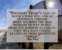 """Memes, Ron Paul, and 🤖: """"PRESIDENT TRUMP's PLAN TO  BUILD A WALL WILL END UP  COSTING A FORTUNE  WHILE IGNORING THE REAL  PROBLEM OF WHY PEOPLE  CROSS THE BORDERS ILLEGALLY.  THEY WILL KEEP COMING  AS LONG AS THOSE INCENTIVES  REMAIN.  Ron Paul  MISESTNSTITUTE"""