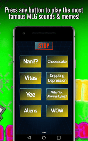 Dank, Memes, and Mlg: Press any button to play the most  famous MLG sounds & memes!  STOP  Nani!?Cheesecake  Vitas Crippling  Why You  Always Lying  Yee  AliensWOW  woW MLG Soundboard - Dank Memes 1.0 apk   androidappsapk.co