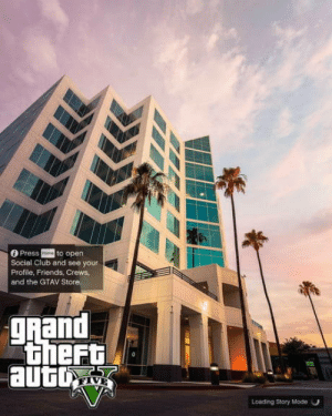 Club, Friends, and Grand: Press oto open  Social Club and see your  Profile, Friends, Crews  and the GTAV Store.  gRand  Loading Story Mode O I took a photo, friend said it looked like a GTA loading screen So I made it one: