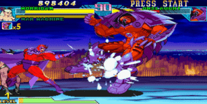 Magneto shouldn't be an assist in the boss fight against Onslaught (Marvel vs Capcom: Clash of Super Heroes): PRESS START  ONSLAUGHT  898404  HORRIGAN-  HAR MACHINE  x5  LEVEL Magneto shouldn't be an assist in the boss fight against Onslaught (Marvel vs Capcom: Clash of Super Heroes)
