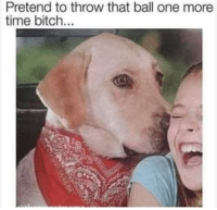 Bitch, Time, and One: Pretend to throw that ball one more  time bitch.. One more time