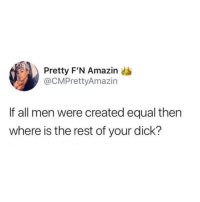 Memes, Amazin, and Declaration of Independence: Pretty F'N Amazin  @CMPrettyAmazin  If all men were created equal then  where is the rest of your dick? 💀 Declaration of Independence missed out on some important details