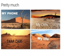 Funny, Life, and Phone: Pretty much  MY PHONE  My DMS  My life  SNAP CHAT 😞