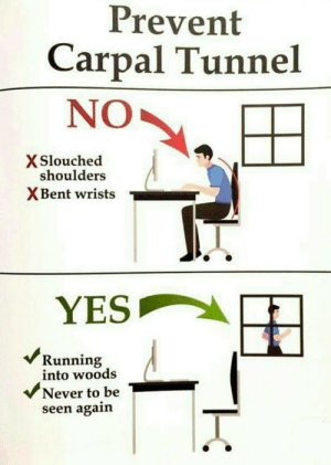 Never, Running, and Yes: Prevent  Carpal Tunnel  NO  X Slouched  shoulders  XBent wrists  YES  Running  into woods  Never to be  seen again  r
