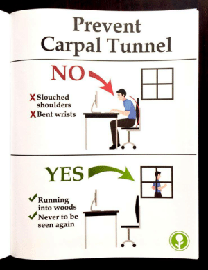 Never, Yes, and Carpal Tunnel: Prevent  Carpal Tunnel  NO  X Slouched  shoulders  XBent wrists  YES  vVRunning  into woods  Never to be  seen again
