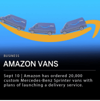 "Amazon, Anaconda, and Memes: pri  prime  BUSINESS  AMAZON VANS  Sept 10 |Amazon has ordered 20,000  custom Mercedes-Benz Sprinter vans with  plans of Taunching a delivery service. Amazon has ordered 20,000 custom Mercedes-Benz Sprinter vans and plans to launch a delivery service. Those interested in running small delivery companies will be able to lease the vans and deliver packages ordered from Amazon. The company says they have received tens of thousands of applications for the ""Delivery Service Partners"" program. ___ Amazon hopes to launch at least 100 small delivery businesses by 2019."
