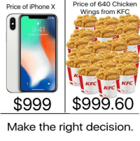"Dank, Iphone, and Kfc: Price of iPhone X Price of 640  Chicken  Wings from KFC  9:41  KFC  KFC  $999 $999.60  Make the right decision. <p>finger lickin&rsquo; good via /r/dank_meme <a href=""http://ift.tt/2xqsFq3"">http://ift.tt/2xqsFq3</a></p>"