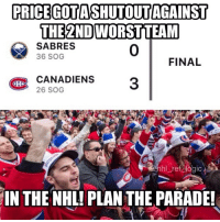 Logic, Memes, and National Hockey League (NHL): PRICEGOTASHUTOUT AGAINST  THE 2NDWORSTTEAM  SABRES  36 SOG  0  FINAL  CANADIENS3  BI  26 SOG  hl ref logic  IN THE NHL! PLAN THE PARADE! you think I'm joking but I actually saw habs fans going bonkers over this last night