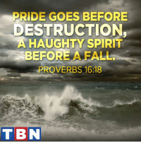 Fall, God, and Memes: PRIDE GOES BEFORE  ESTRUCTION,  A HAUGHTY SPIRIT  BEFORE A FALL.  PROVERBS 16:18  TBN God promises to give favor to the humble! (1 Peter 5:5)