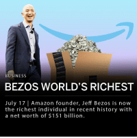 Amazon founder, Jeff Bezos is now the richest individual in modern history. His net worth reached $151 billion on Monday before Amazon's Prime Day promotion, according to the Bloomberg Billionaires Index. Amazon stock also reached an all-time high and was valued at $1,849.89 on Tuesday following the Prime Day promotion. ___ The second wealthiest billionaire, Bill Gates' net worth peaked at $100 billion which would be around $149 billion today.: prima  Drine  BUSINESS  o Pri  BEZOS WORLD'S RICHEST  July 17| Amazon founder, Jeff Bezos is now  the richest individual in recent history with  a net worth of $151 billion. Amazon founder, Jeff Bezos is now the richest individual in modern history. His net worth reached $151 billion on Monday before Amazon's Prime Day promotion, according to the Bloomberg Billionaires Index. Amazon stock also reached an all-time high and was valued at $1,849.89 on Tuesday following the Prime Day promotion. ___ The second wealthiest billionaire, Bill Gates' net worth peaked at $100 billion which would be around $149 billion today.