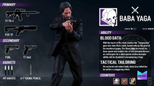 "Opinions on the new op?: PRIMARY  BABA YAGA  TT TR-  ARMOR OO  SPEED  ABILITY  KSG 12  BLOOD OATH  SECONDARY  With the touch of the silver marker the ""Boogeyman  goes into John Wick mode, fueled only by the grief of  his murdered puppy. The Blood Oath increases his  base speed and enables him to see potential threats  as red targets for a short period of time however  ability will be disabled if encountering a trap  P30L  TT G43  TACTICAL TAILORING  GADGETS  His armored suit makes body shots less lethal but  he suffers a staggering effect.  COUNTERS  MEMES  MT KNIVES  A F CKING PENCIL Opinions on the new op?"
