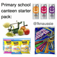 The canteen at my old school back in primary school had all of these 😂😂: Primary school mr  canteen starter  LOL  LOL.  LOL  pack:  @fknaussie  VEGE VEGE VEGE  NATURAL The canteen at my old school back in primary school had all of these 😂😂