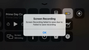Record, Wanted, and Day: Prime Day Co.,  Prime Day Co.  Screen Recording  Screen Recording failed to save due to:  Failed to save recording  10  10  OK  Screen  Mirroring B-but I just wanted to record something! ☹️