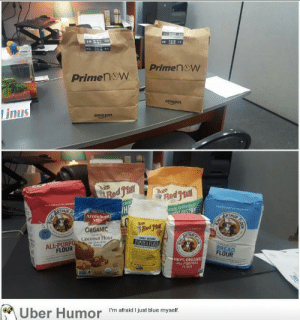 Amazon, Omg, and Tumblr: PrimenW  Primen W  amazon  linus  amazon  NE GROUND  Arrowlhegih  ORGANIC  Coconut Flour  ALL-PURPOm t  FLOUR  FLOUR  00% ORGANIC  ALL-PURPOSE  Iber Humor  I'm afraid I just blue myself. omg-images:  The boyfriend got in trouble yesterday. He sent flours to my office today to apologize.