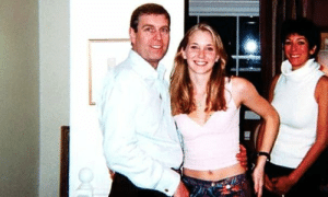 Prince Andrew with Virginia Roberts, his accuser, and Ghislaine Maxwell, Jeffrey Epstein's ex-girlfriend and trafficker: Prince Andrew with Virginia Roberts, his accuser, and Ghislaine Maxwell, Jeffrey Epstein's ex-girlfriend and trafficker