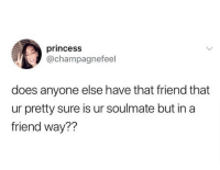 Lmao, Memes, and Princess: princesS  @champagnefeel  does anyone else have that friend that  ur pretty sure is ur soulmate but in a  friend way?? Lmao tag them 😂😂👇🏾👇🏾 . KraksTV
